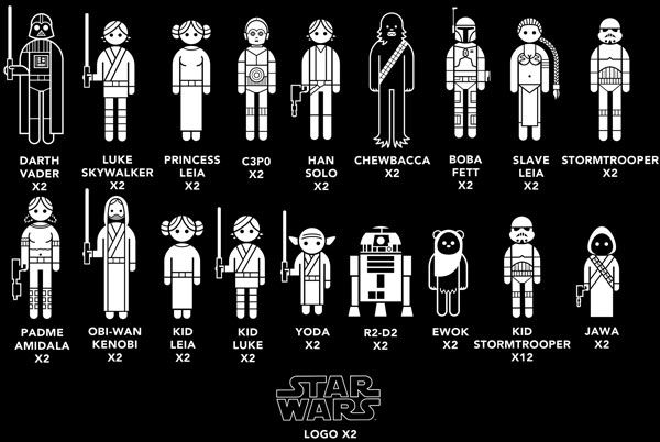 StarWars Characters Vinyl Decal Sticker Create Your Star Wars Family Car Window