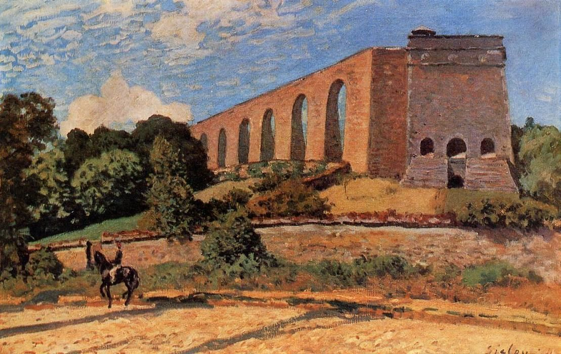 'Aquädukt in Marly', öl von Alfred Sisley (1839-1899, France)