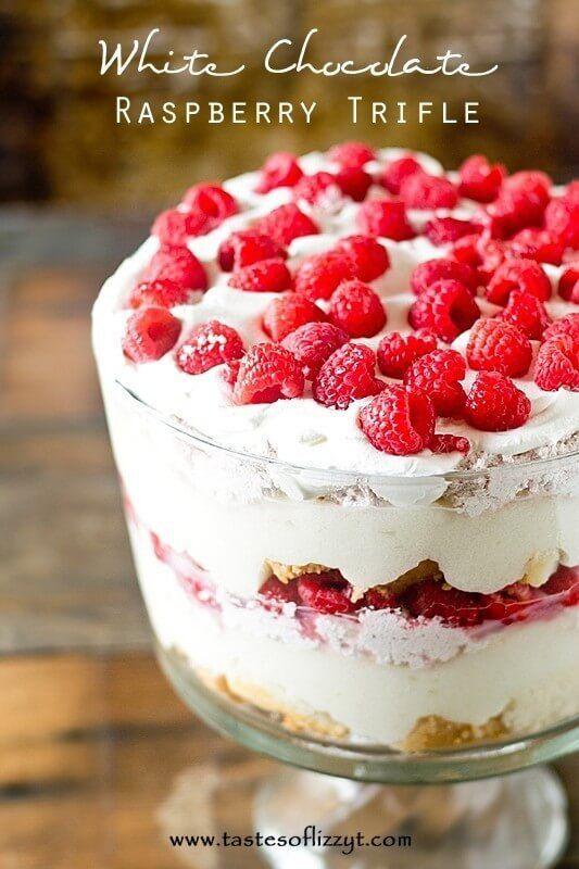 White Chocolate Raspberry Trifle {Easy Dessert Recipe with Cake}