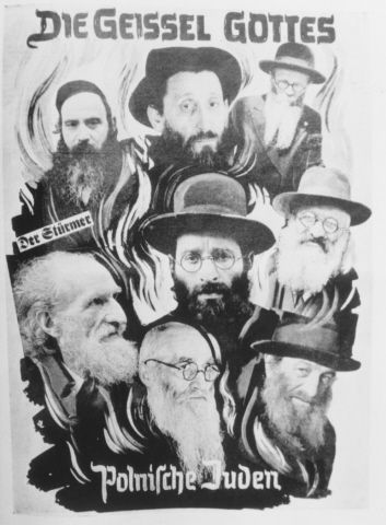 """An anti-Semitic photomontage entitled, """"The Scourge of God, Polish Jews,"""" that was used as a title page for a brochure issued by Der Stuermer."""