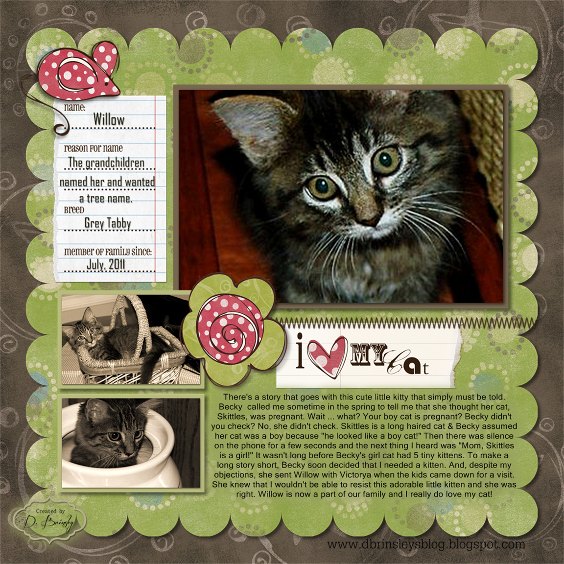 Scrapbook ideas for dogs - D Brinsley S Memory Keeping Blog I Love My Cat Digital Scrapbooking Layout