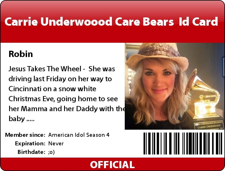 My carrie underwood care bears id card which makes it official now my carrie underwood care bears id card which makes it official now am team carrie rrie underwoods music is always beautiful o altavistaventures