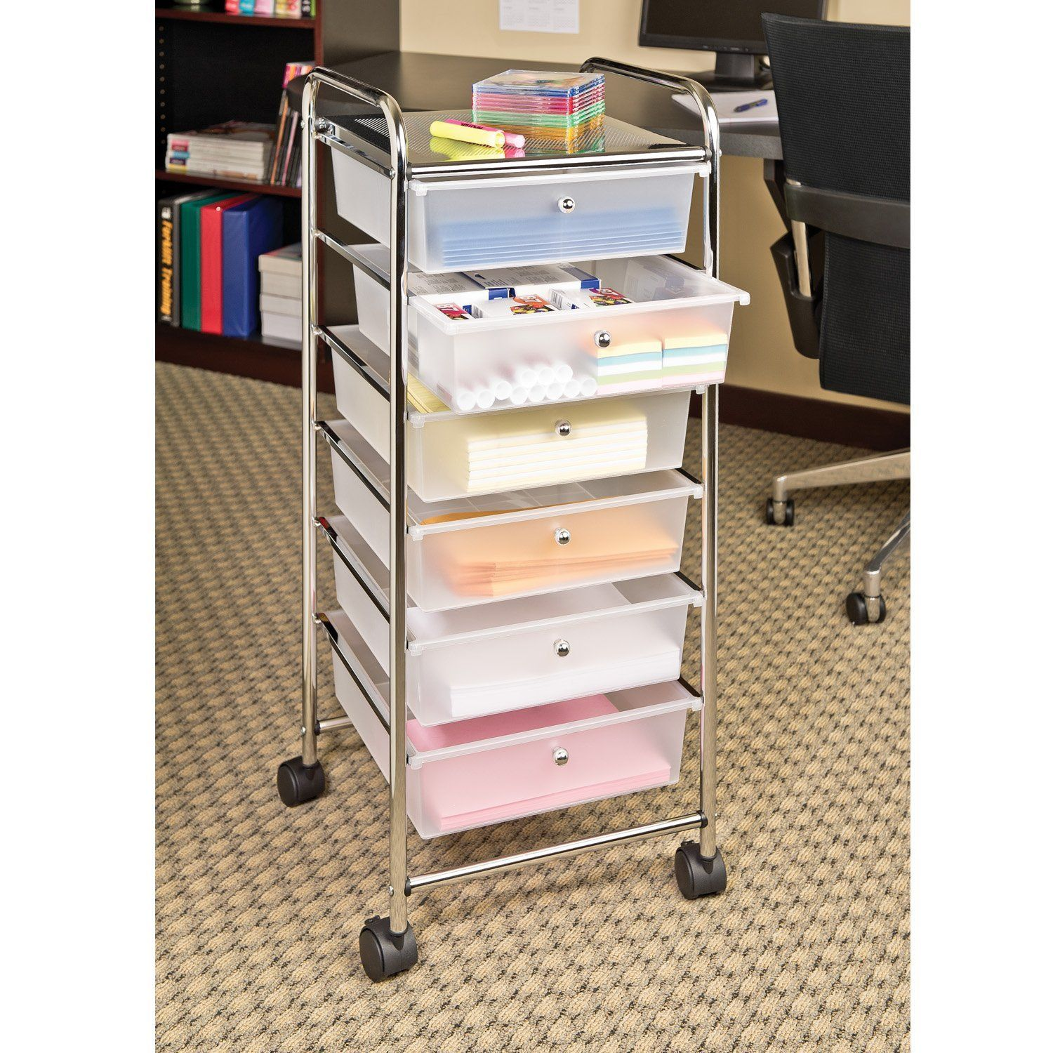 Seville classics large drawer storage bin organizer cart frosted