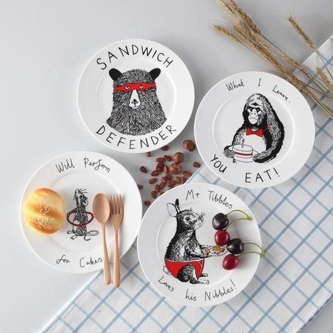 Top Cartoon Animal Bone China Cake Dishes And Plates Porcelain Pastry Fruit Tray Ceramic Tableware For Children Steak Dinner