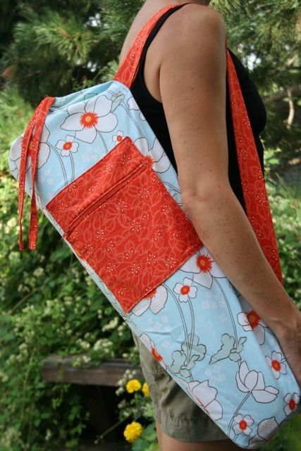 Yoga Mat Bag in White and Orange Daffodils with a Zipper Pocket ...