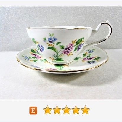Regina purple flower teacup and saucer bone china vintage regina purple flower teacup and saucer bone china vintage fandeluxe Image collections