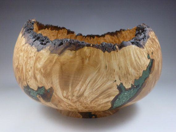 Large wooden bowl maple burl natural live edge wood