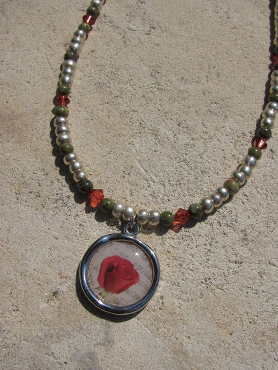 Rose Jasper and Crystal necklace