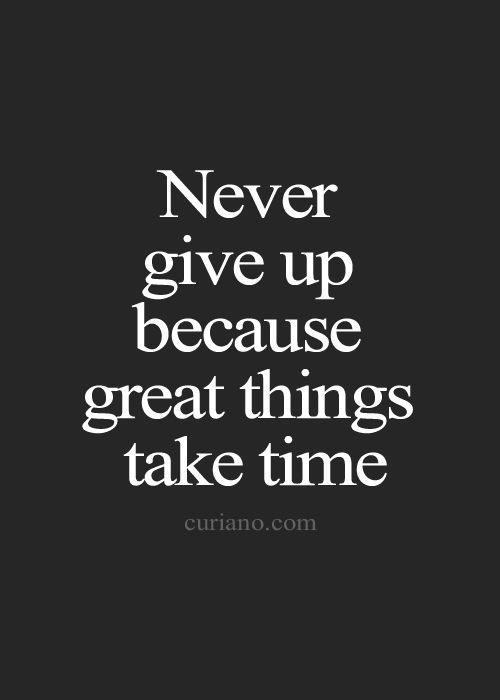 Never Give Up Because Great Things Take Time We Are Ambitious Are