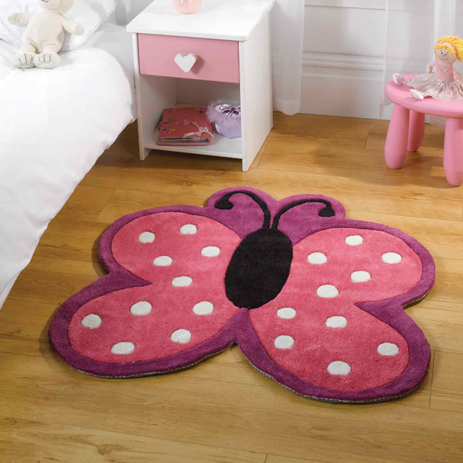 Kiddy Play Polka Butterfly Rugs In Pink90x90cm 3 0 X3 0