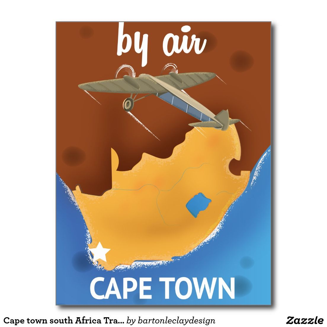Cape Town South Africa Travel Poster Postcard Postcards