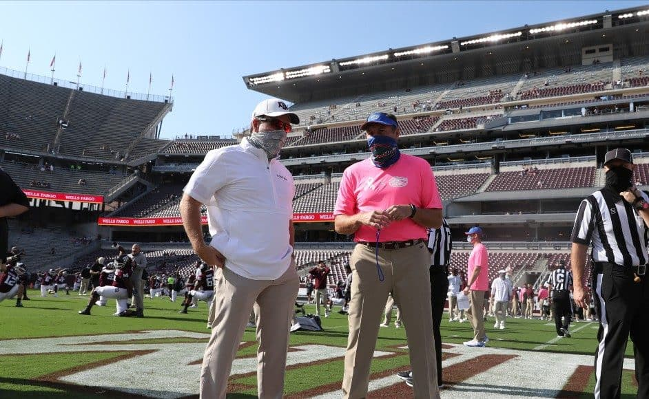 Dan Mullen Talks With Jimbo Fisher Before The A M Game In 2020