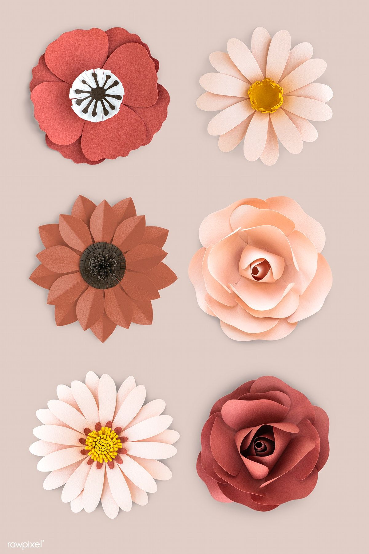 Download Premium Psd Of Earth Tone Flower Paper Craft Set 1202440