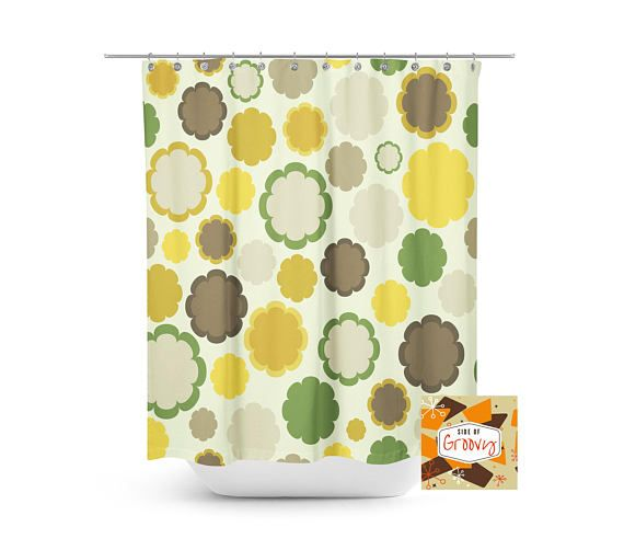 Retro Shower Curtain Mid Century Modern MOD