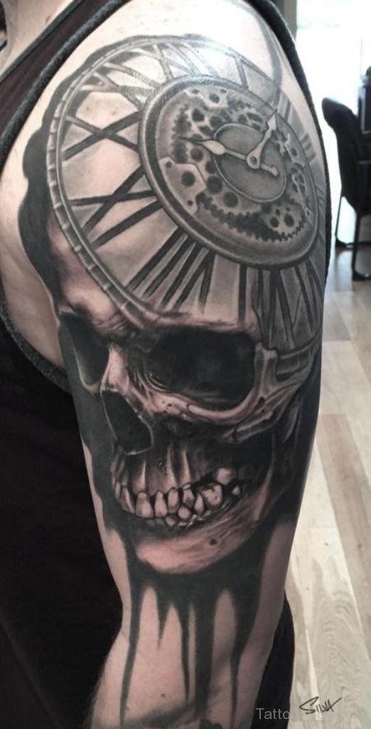Skull And Clock Tattoo Design On Half Sleeve Tb12153 Clock Tattoo Clock Tattoo Design Clock Face Tattoo