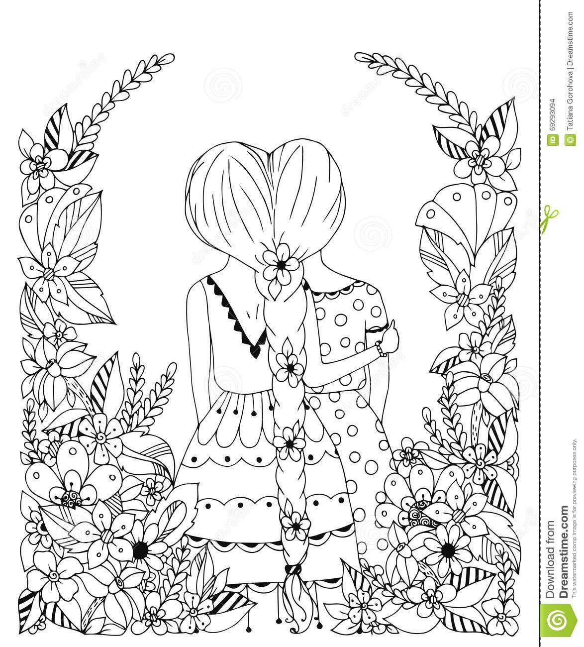 Vector Illustration Zentangl Girl Friend In A Flower Frame Doodle Flowers Spit Back Hugs Friend Coloring Books Coloring Pages Coloring Pages Inspirational [ 1300 x 1174 Pixel ]