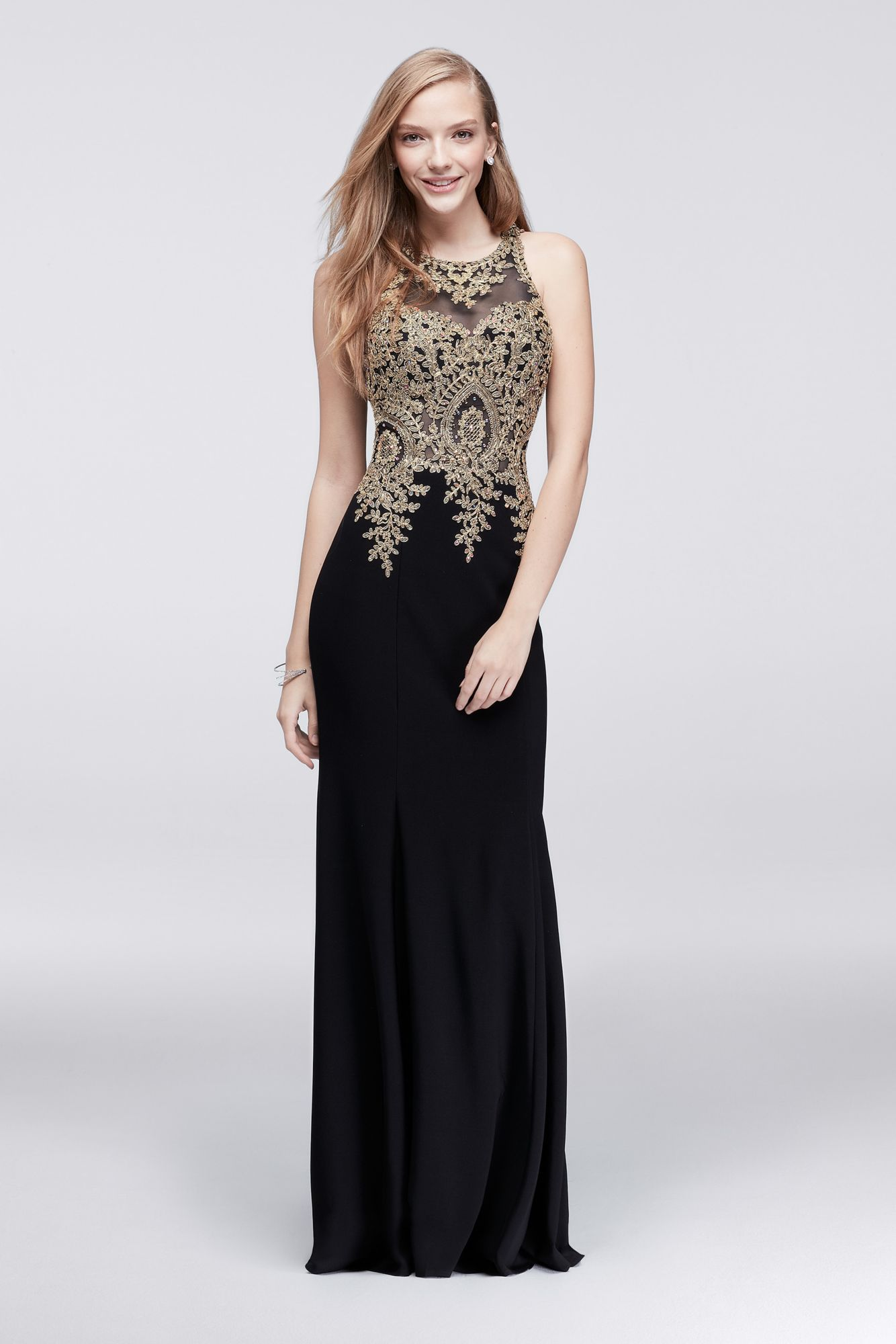 0f244c8c74 Black And Gold Lace Back Embroidered Maxi Dress
