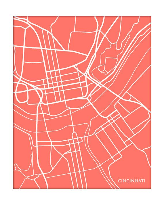 Cincinnati city map httpetsylisting79285781cincinnati cincinnati city map print ohio art personalized university poster grad gift choose your color malvernweather Image collections