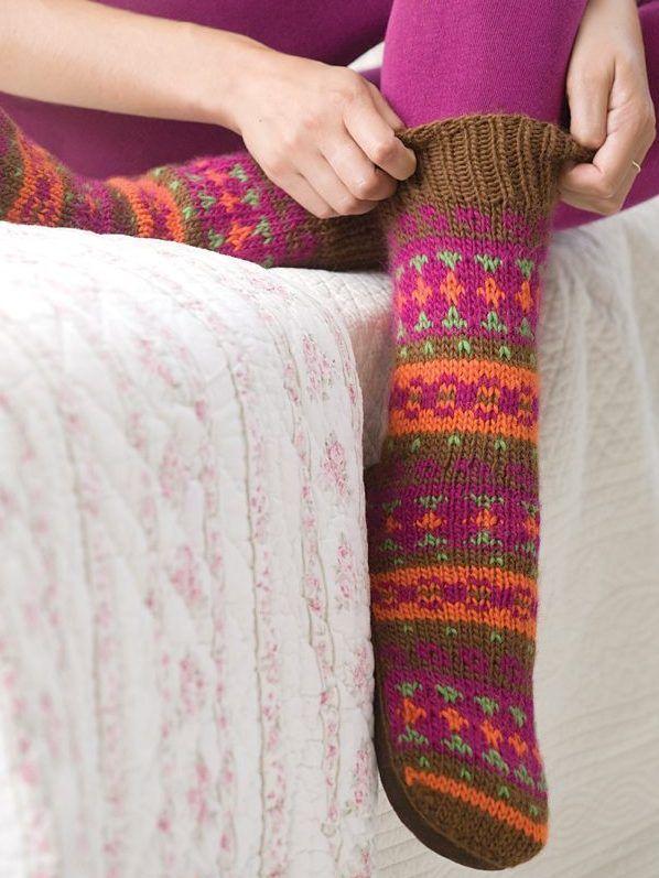 Free Knitting Pattern for Adirondack Slipper Socks - Easier than ...