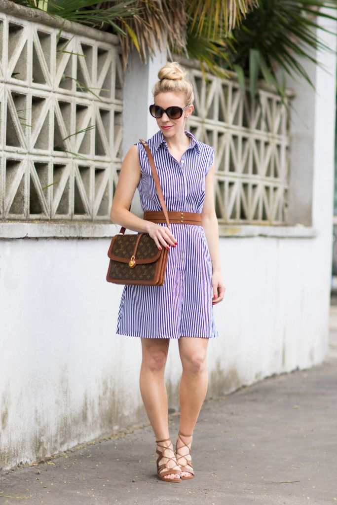 8e5cbc3b2dea Summertime Dressing  blue and white striped dress with leather belt