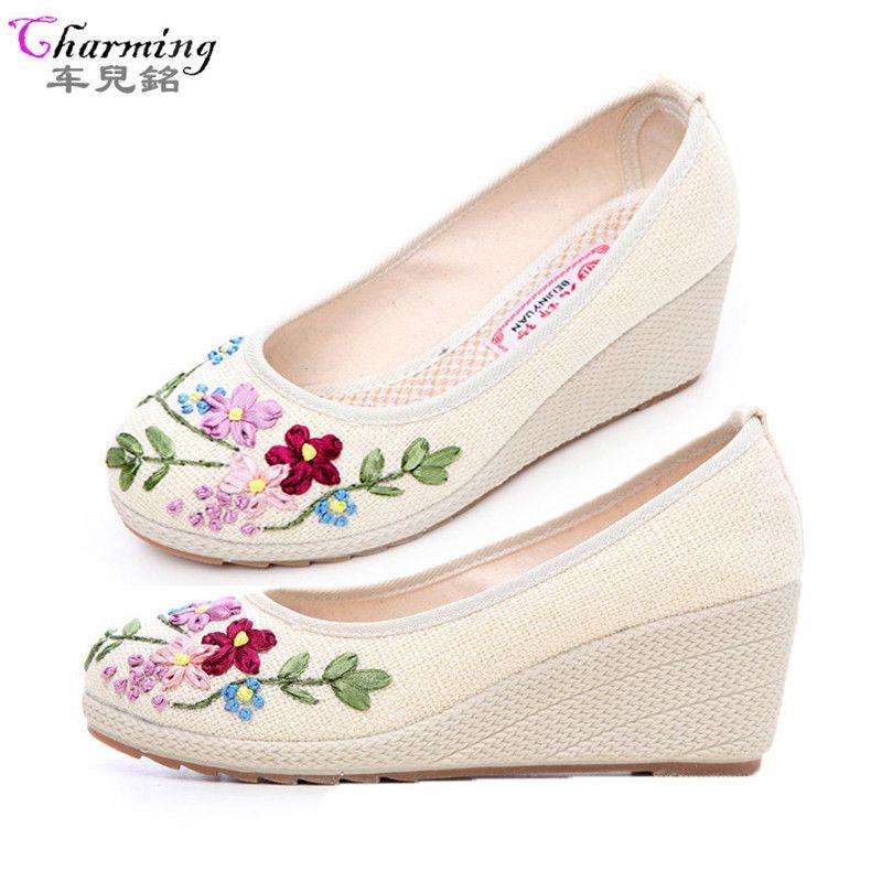 2016 fashion women causal pumps canvas high heels wegdes women shoes excellent hand-made silk flowers comfortable breath shoes #Affiliate