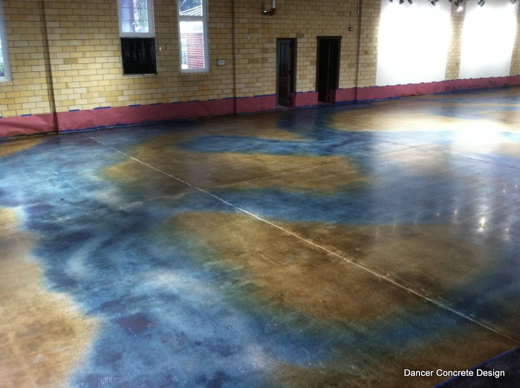 Right After Coloring The Floor With A Concrete Dye You Can See Colors Used