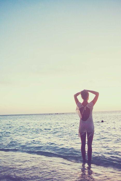 dusk at the beach.