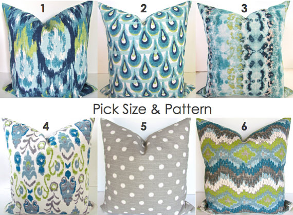 Pillow MIX MATCH Any Size Pattern Turquoise Decorative Pillows Inspiration Blue And Green Decorative Pillows
