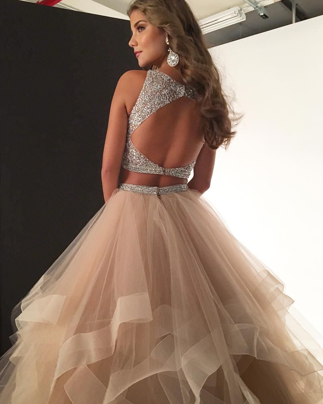 2018 two piece long prom dress, champagne long prom dress with open back, formal evening dress graduation dress