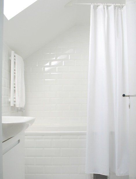 A Shower Curtain Conundrum Solved Sloped Ceiling Bathroom