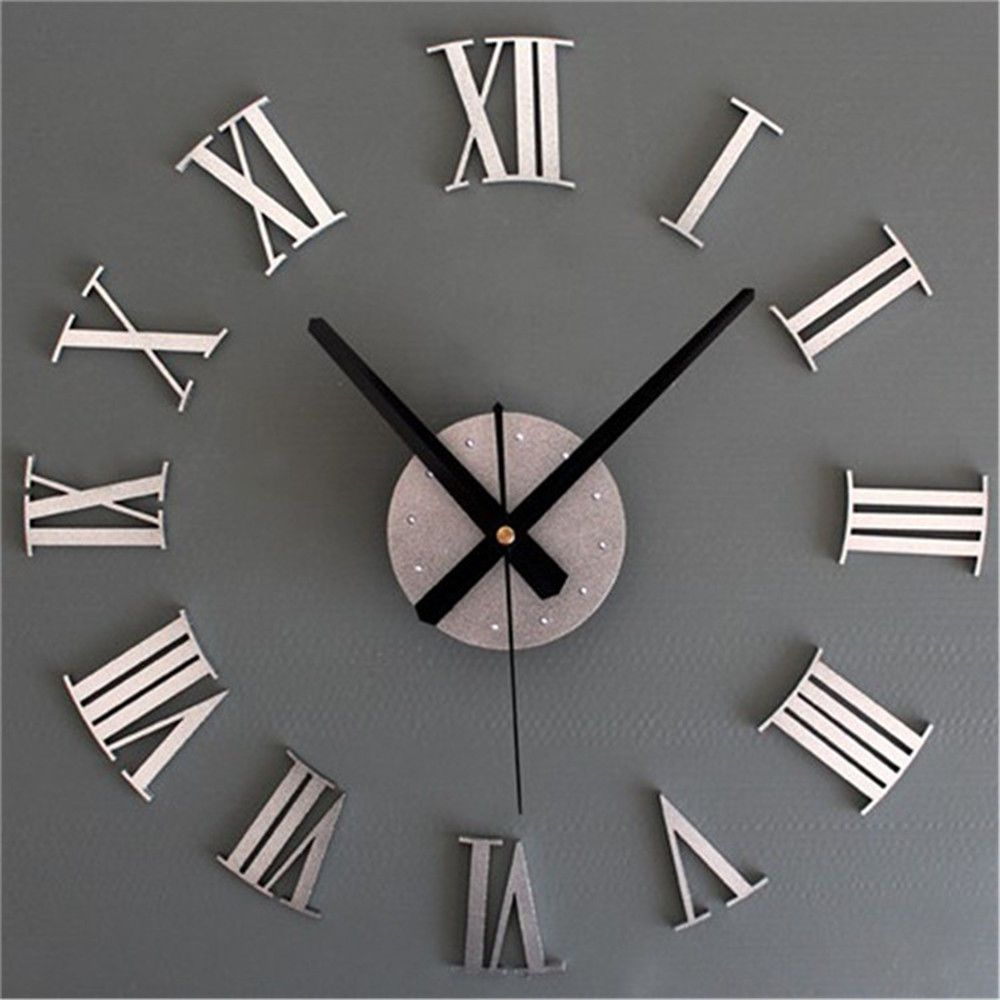 diy 3d roman numerals large luxury home decor mirror wall clock large wall
