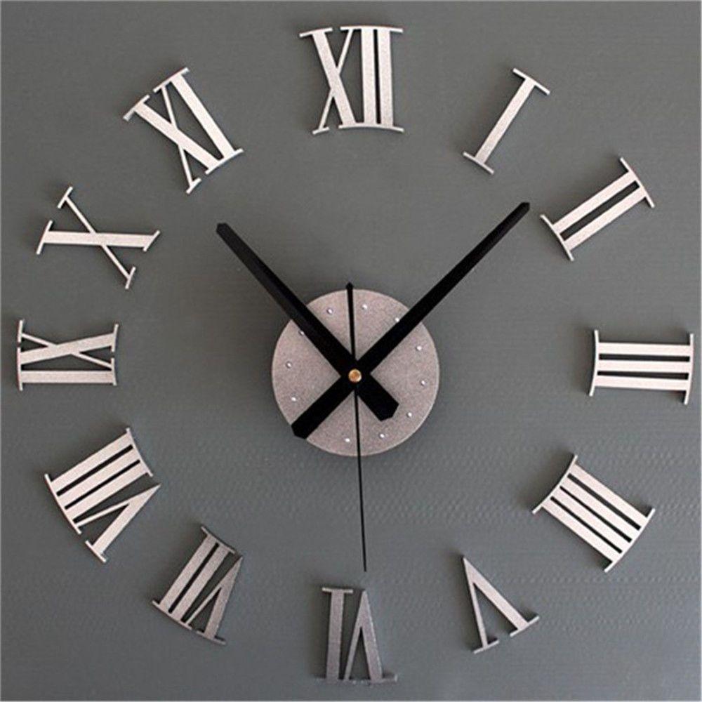 Diy 3d Roman Numerals Large Luxury Home Decor Mirror Wall Clock