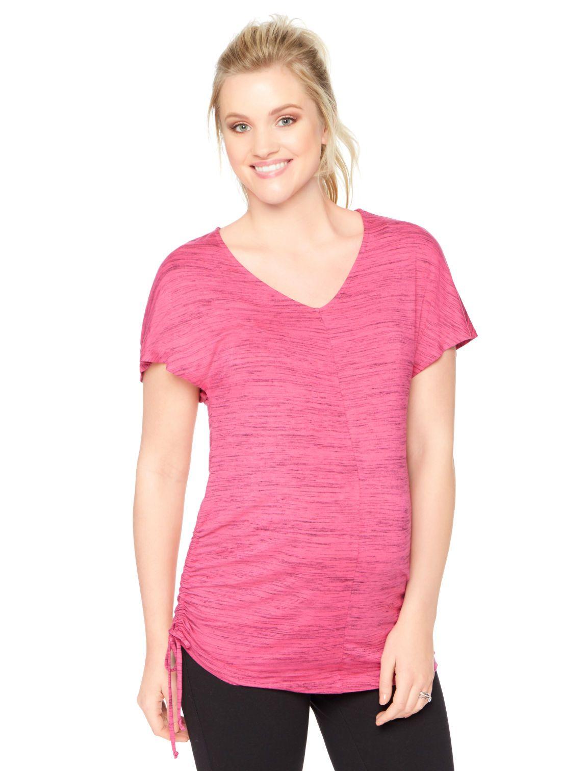 0fe7535a9e8 Motherhood Maternity Short Sleeve V-neck Side Tie Maternity Shirt ...