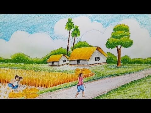 How To Draw Landscape Scenery Of Late Autumn Step By Step Youtube Scenery Paintings Drawing Scenery Abstract Horse Painting