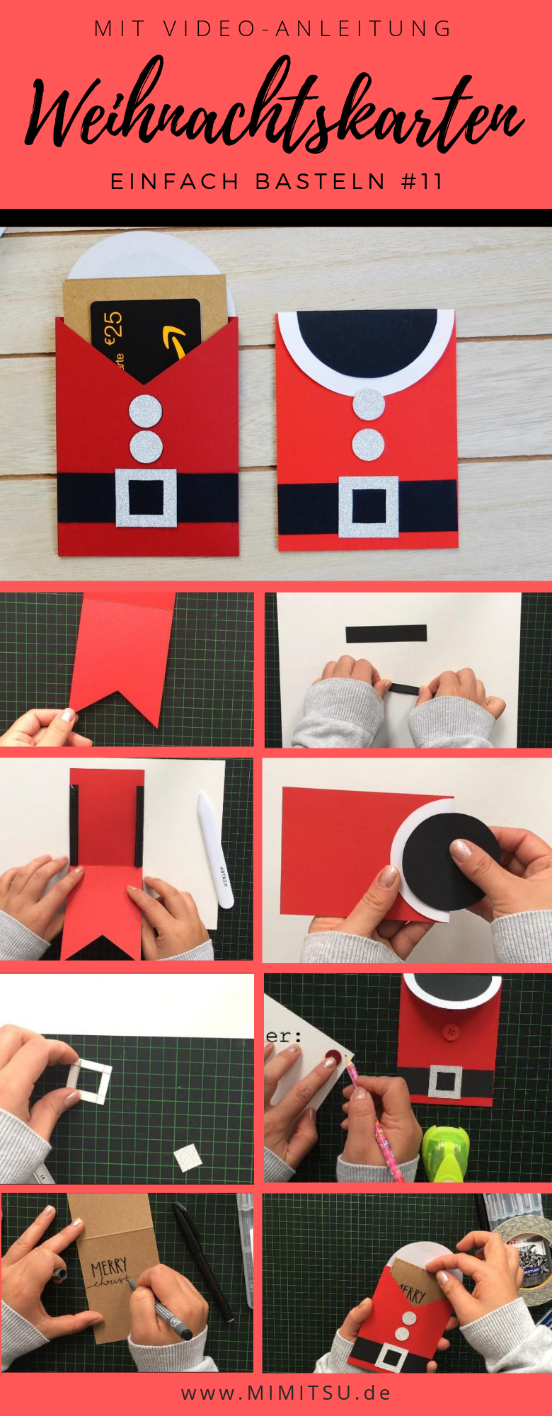 Heute zeige ich dir meine 11. Weihnachtskarte, die du mit einfachen Materialien ganz leicht selber basteln kannst! #santa #weihnachtsmann #santaclaus weihnachtsmann Kostüm  basteln mit Papier, Weihnachten #Bastelidee #Weihnachtskarte #christmascard #basteln #Weihnachtskarten  #diy #weihnachtenidee #diytutorial #gutscheinkarte #weihnachtskartenbastelnmitkindern