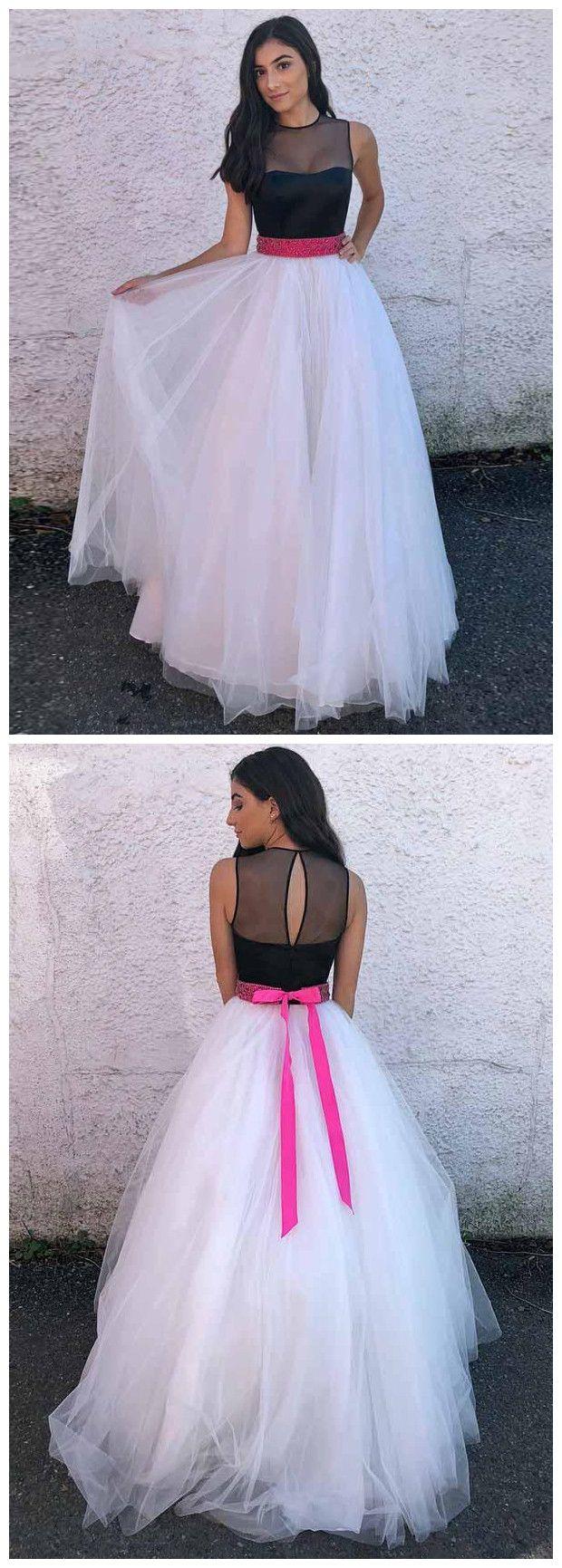 Aline scoop floor length white and black prom dress cheap long prom