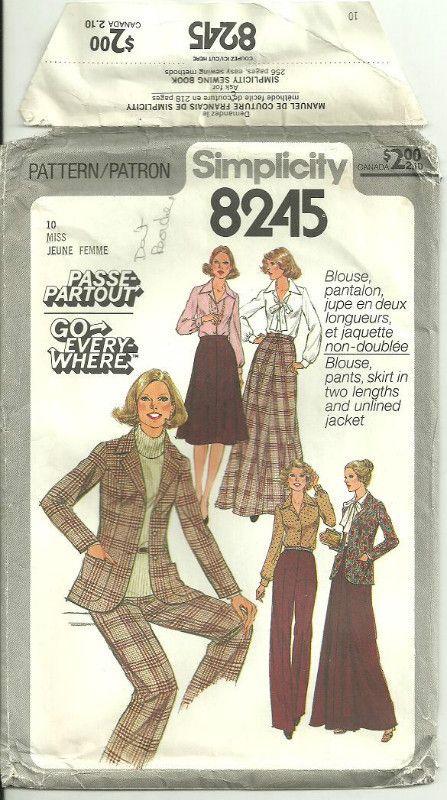 Simplicity 8245 Sewing Pattern Misses Blouse, Pants, Skirt, Jacket ...