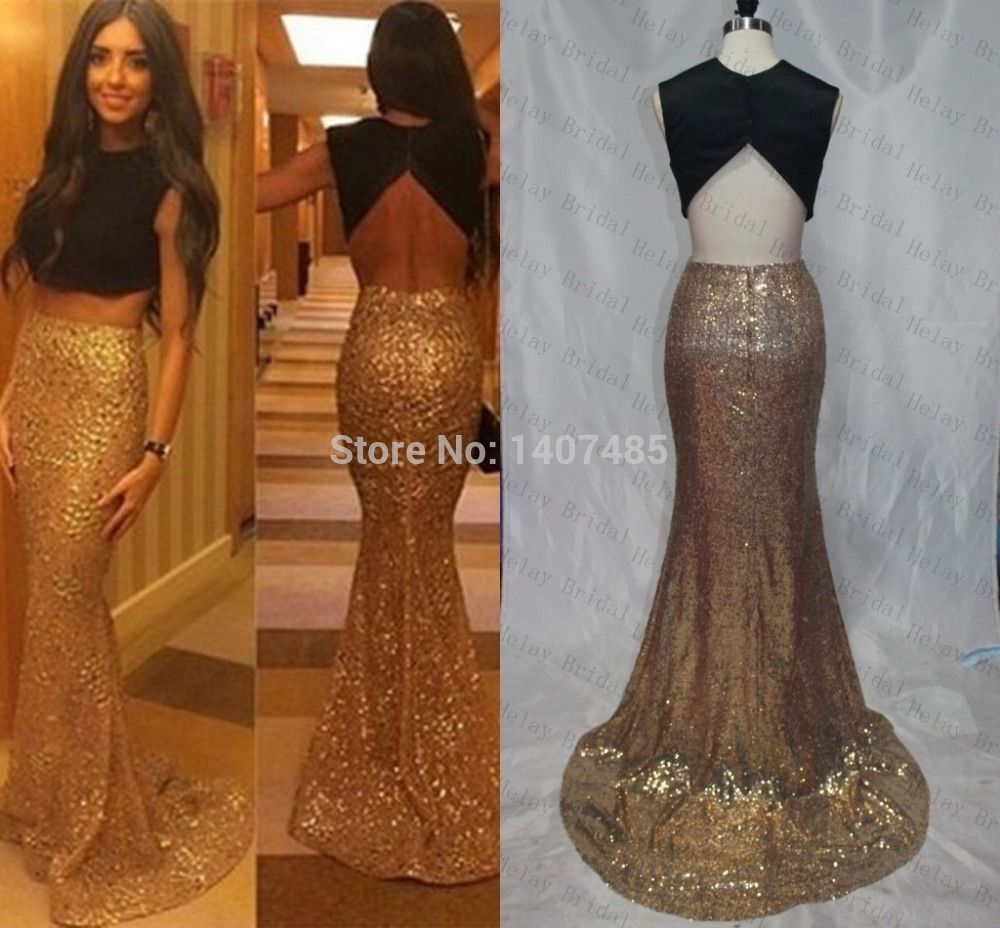 Aliexpress buy real image long gold piece prom dresses
