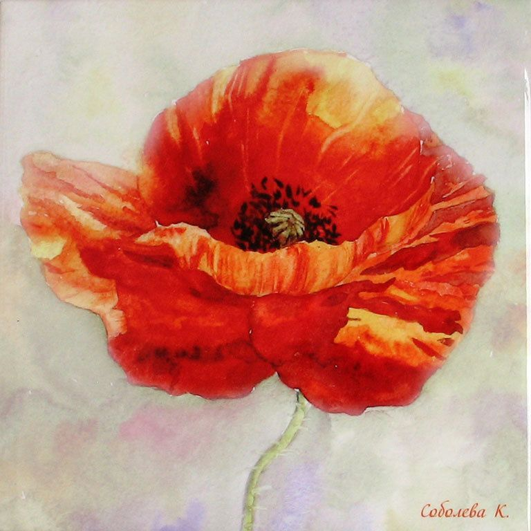Painting watercolour-Red Poppy-Ceramic tile-Sublimation ...