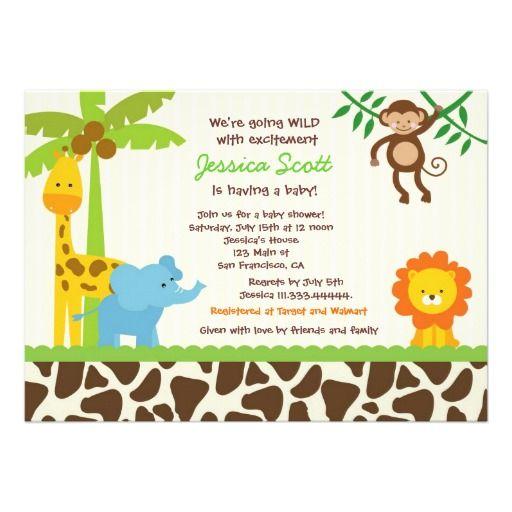 Safari Jungle Zoo Baby Shower Invitations Baby Shower Pinterest
