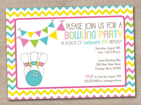 Bowling Party Printable Birthday Party Invitation For Girls And