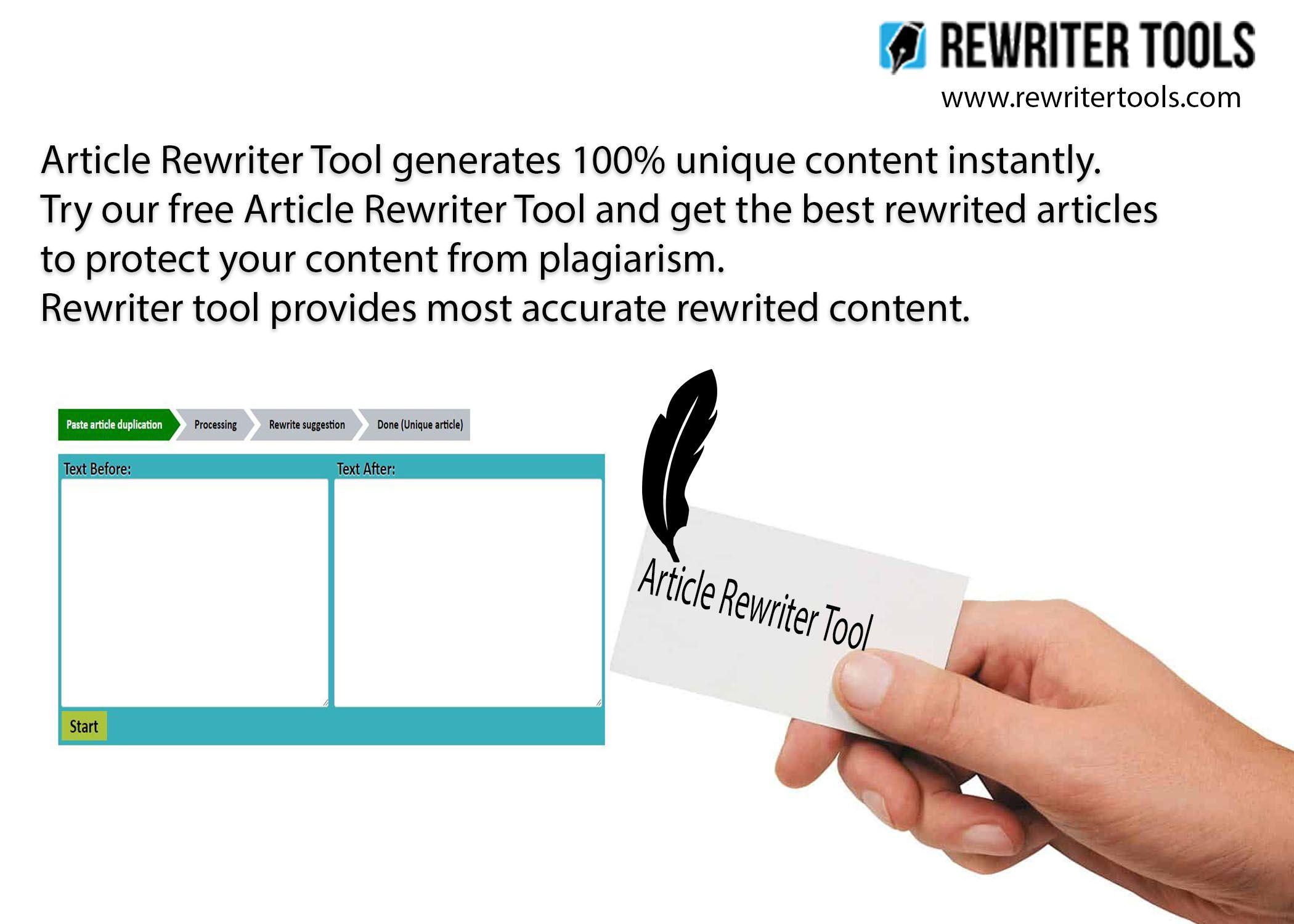Article Rewriter Tool generates 100 unique content