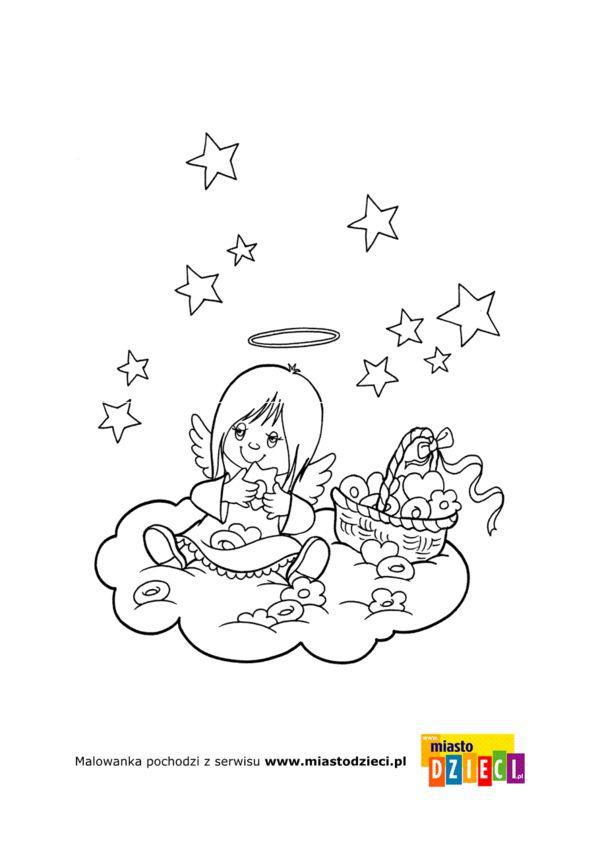 Anioly I Aniolki Kolorowanki Dla Dzieci Kolorowanki Anioly