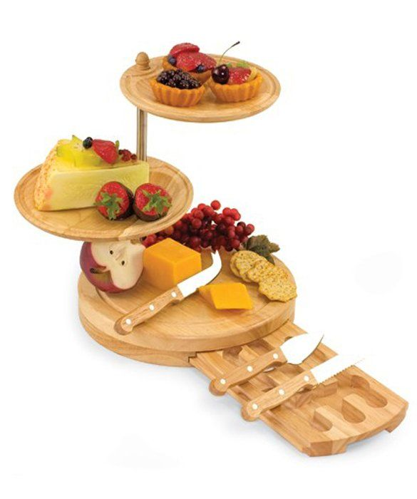 Compact Design Heart Shaped Swivel Cheeseboard Set with Knives 3 Pieces