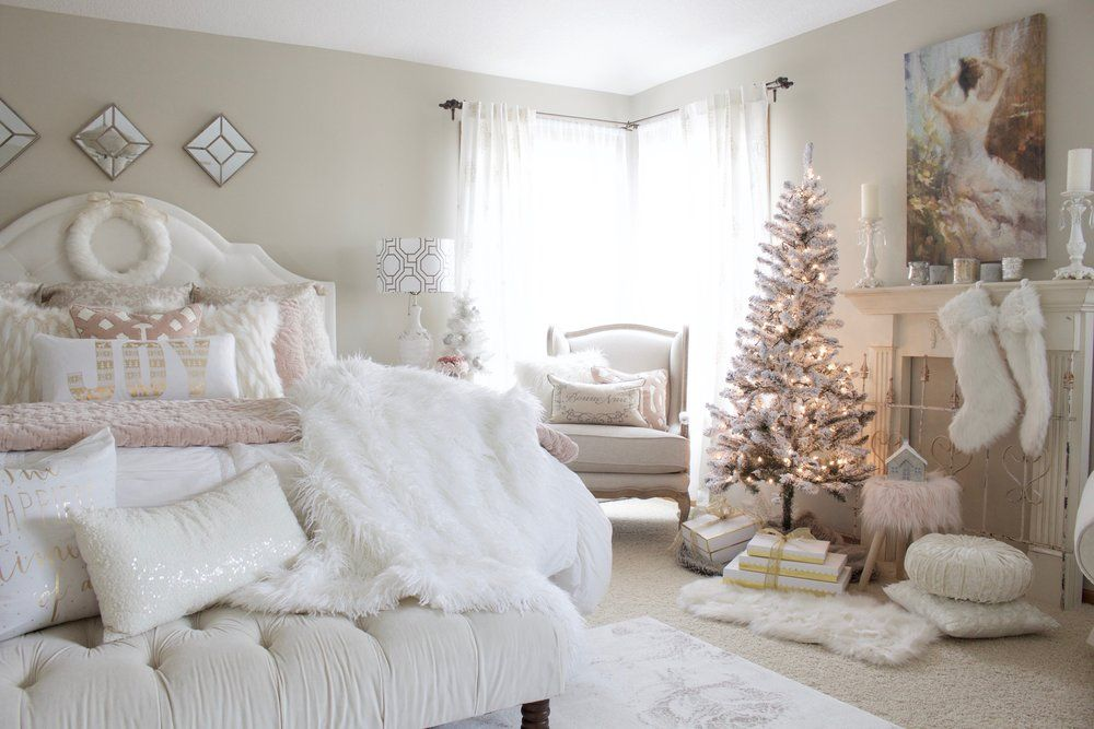 Home For Christmas A Blush Pink Bedroom Styled With Lace Pink Bedroom Decor Pink Christmas Bedroom Christmas Decorations Bedroom