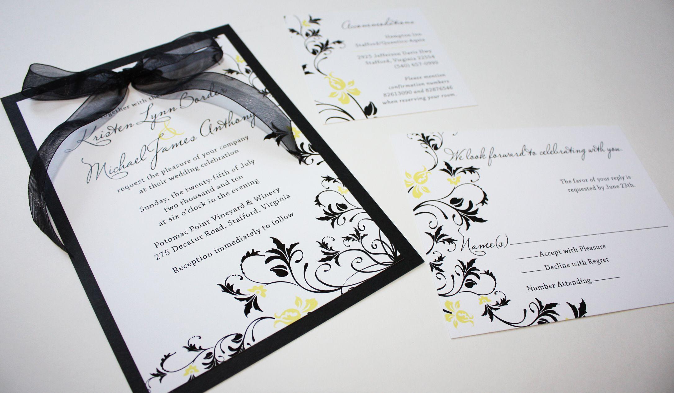 wedding invitations black and yellow | canary & black invitations ...