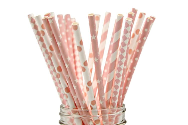 PINK STAR Paper Straws,Straws,Girls Party Supplies,Baby Girl Shower, Sweet 16 Party, Bachelorette party, Cupcake toppers, candy bar supplies by myprettypartyplace on Etsy
