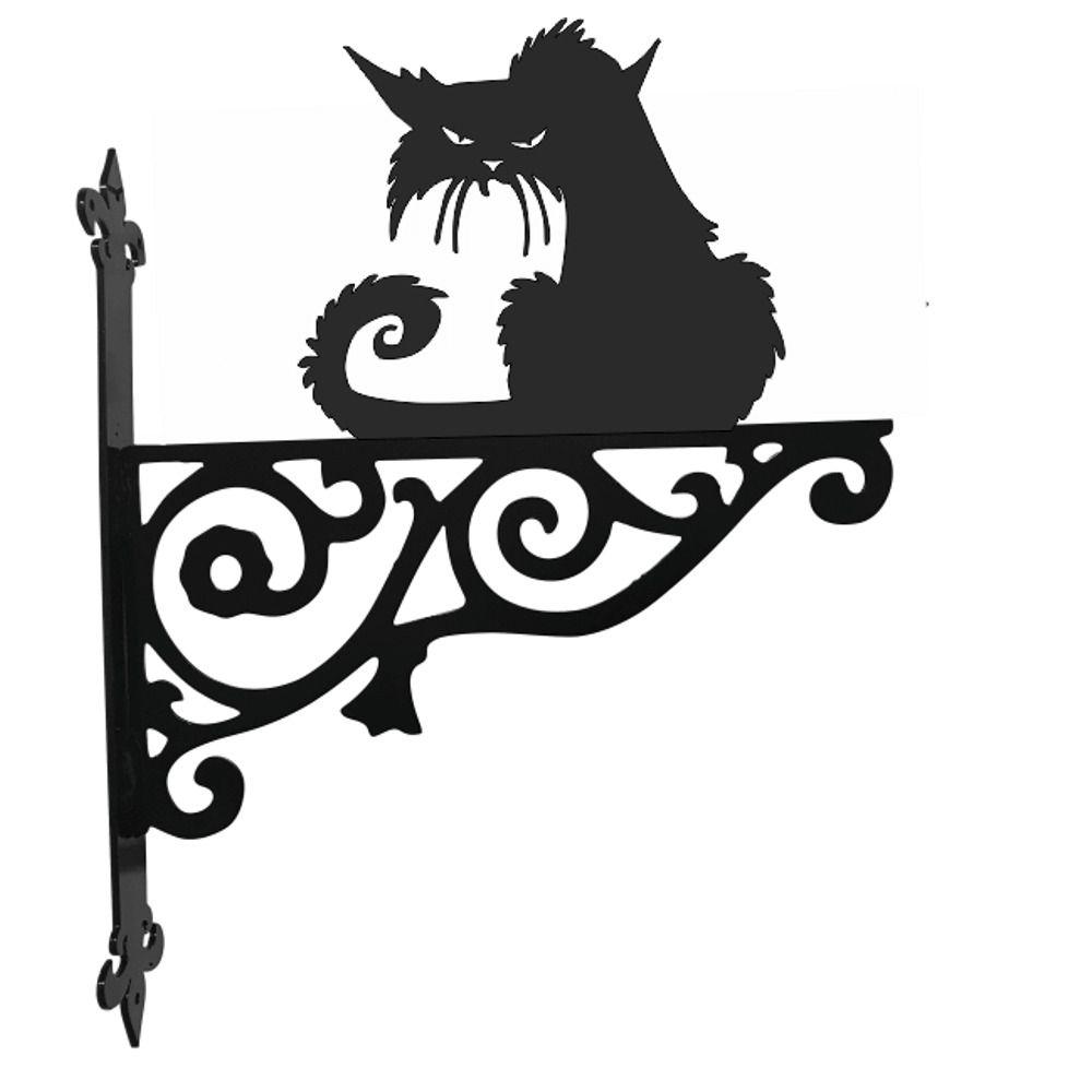 Metal Black Cat Grumpy Sitting Garden Hanging Bracket Ornament Hook Baskets Gift