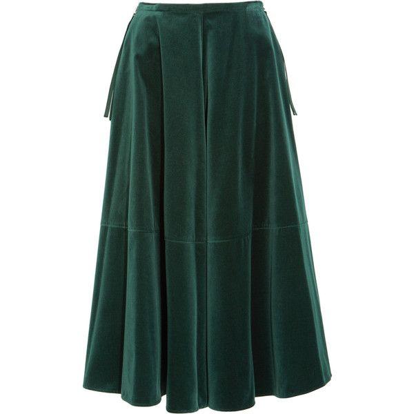 MM6 Maison Margiela Fluted velvet midi skirt (31.710 RUB) ❤ liked on Polyvore featuring skirts, emerald, velvet skirt, zipper skirt, a line skirt, green a line skirt and green skirt