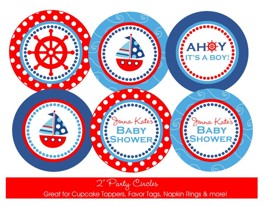 Nautical Baby Shower Printable Party Circles, DIY Nautical Themed Cupcake  Toppers, Favor Tags,